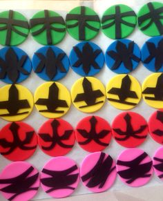 Power rangers symbols. Cupcake fondant toppers