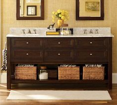 Classic Double Sink Console from Pottery Barn . for the guest bath Up House, Cozy House, Double Sink Bathroom, Double Sinks, Master Bathroom, Double Vanity, Bathroom Ideas, Bathroom Vanities, Double Mirror