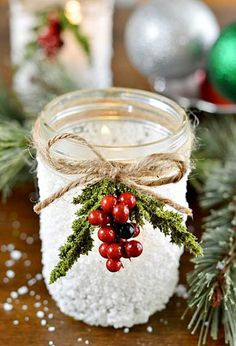 Christmas Decorating : Spray Snow on Jars or Glass for a Flocked Look, Add Twine, Ribbon etc., and Berries