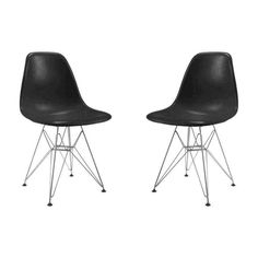 Conjunto 2 Cadeiras Eames PP Preto pés em aço