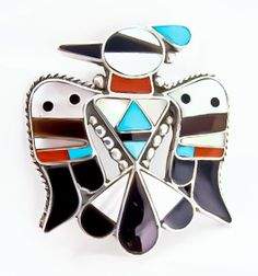 Vintage Zuni Turquoise Multi Inlay Silver Thunderbird Pin Pendant Bobby Shack