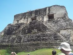 Rob & our guide, Home, climbed to the top of these Mayan Ruins in Belize