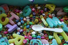 alphabet sensory bin *