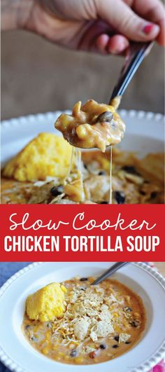 Use Mexican rotel Instead of salsa and half cream cheese at end of cooking Slow Cooker Chicken Tortilla Soup - simple to make and tastes amazing. A favorite family slow cooker recipe! Slow Cooker Huhn, Crock Pot Slow Cooker, Crock Pot Cooking, Slow Cooker Chicken, Slow Cooker Recipes, Crockpot Recipes, Soup Recipes, Snack Recipes, Cooking Recipes