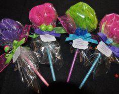Pink Baby Shower Favor Bath Puff Lollipop with door KristinsWhimsy