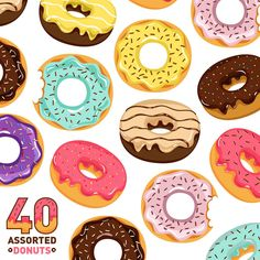 So adorable you could just eat them up! But don't, these are wall decals and not actually edible. Made from our fab-tac material, these are removable and repositionable! Size: Comes with (40) donut de