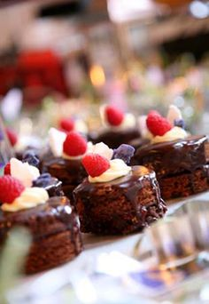 Mini chocolate ganache cakes. And yes they do taste as good as they look! Devour Catering Calgary - Devour Catering