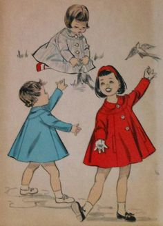 Vintage 1950s Toddler Girls Trapeze Coat Sewing Pattern Size 2 Advance 8789. $16.00, via Etsy.