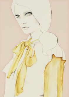 little miss yellow bow    #Illustration #fashionillustration #woman #lady #art #drawing #watercolor