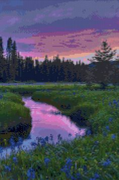 Idaho sunset landscape Cross Stitch pattern PDF - Instant Download! by PenumbraCharts on Etsy