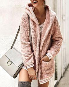 Pink Teddy Coat, Faux Coat, Faux Fur, Lisa, Fluffy Coat, Winter Tops, Long Sleeve Turtleneck, Outerwear Jackets, Jackets For Women