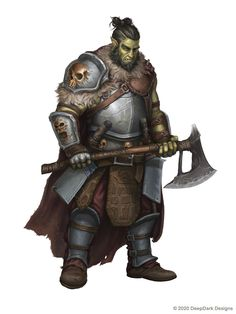 Orc Warrior, Fantasy Warrior, Fantasy Rpg, Medieval Fantasy, Fantasy Artwork, Pathfinder Orc, Pathfinder Character, Dungeons And Dragons Characters, Dnd Characters