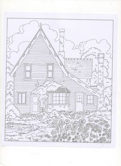 Coloring Pages Books Colouring Country Cottages Vintage Houses Printable