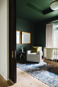 A Modern Classic Renovation (Before + After) - Emily A. Dark Green Rooms, Sophisticated Nursery, Dark Walls, Bedroom Green, Curtain Designs, Office Interiors, Modern Classic, Beautiful Homes, Home And Family