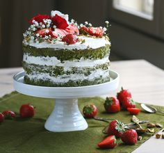 Matcha sponge cake with strawberries and almond mascarpone