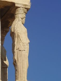 Caryatid sculpture of the Erechtheion- Acropolis, Athens - Amy Barnett photo Ancient Greek Art, Ancient Greece, Acropolis, Monuments, Athens, Goddesses, Statues, Amy, How To Memorize Things
