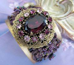 Bridesmaid Cuff Bracelet, Purple Rhinestone Cuff