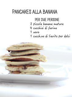 pancakes alla banana – Amaradolcezza – The World Healthy Sweets, Healthy Cooking, Healthy Snacks, Cooking Recipes, Healthy Recipes, Tortilla Sana, Crepes, Banana Pancakes, Breakfast Dessert