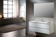 Greeploos meubel, leverbaar in verschillende kleuren en met enkele of dubbele wasbak #exclusief #aran #gelakt #badkamermeubel