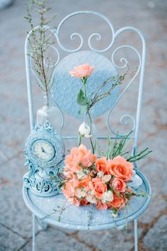 Whimsical Wedding Inspiration Shoot With an Orange & Aqua Palette Orange Wedding, Wedding Colors, Wedding Flowers, Wedding Bouquets, Shabby Chic, Shabby Vintage, Aqua Color Palette, Color Azul, Whimsical Wedding Inspiration