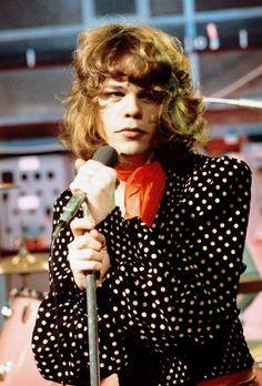 70s androgynous fashion polkadot blouse red scarf rocker vintage style fashion glam New York Dolls: David Johansen