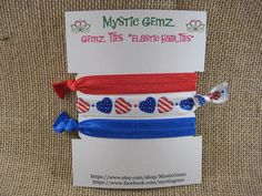 """Set of 3 Red Blue and White with Americana Hearts Fold Over Elastic Hair Ties Ponytail Holder Gemz Ties Solid Print Ruffle 5/8"""" on Etsy, $2.50"""