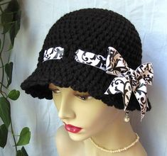 Crochet Cloche Womens Hat Black and White Ribbon Fall Crochet Beret, Hand Crochet, Rose Hat, Black And White Ribbon, Printed Ribbon, Ribbon Bows, Ribbons, Photography Women, White Women
