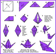 Paper Crane Instructions With Folding Or As Decoration On Thank You Bags Cranes Are Symbols For Happiness And Long Life
