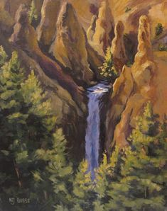 "Landscape Artists International: Original Yellowstone Landscape Painting ""Tower Falls at Yellowstone"" by Colorado Artist Nancee Jean Busse, Painter of the American West"
