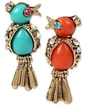 Betsey Johnson Gold-Tone Stone and Crystal Bird Mismatch Stud Earrings