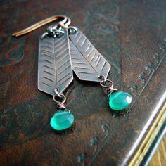 feather copper earrings with green onyx, chevron earrings, boho style