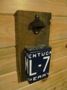Bottle opener & Cap catcher made with vintage Kentucky State license plate and Barn wood Perry County Hazard Appalachia