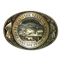 Kansas State Seal Solid Brass Tony Lama Belt Buckle