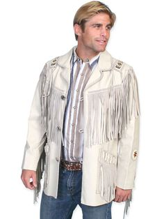 Hand Laced Bead Trimmed Coat - Prairie Leather - Cream