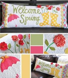Perfect for Spring! Welcome Spring Bench Pillow Pattern Download available at connectingthreads.com