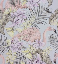 Flamingo Club Matt Silver, Lilac & Lemon wallpaper by Matthew Williamson