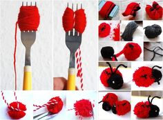Тhis yarn ladybug is really cute and easy, fun to make. First you need to make two pom-poms with. The post The Perfect DIY Cute Pom-pom Ladybug appeared first on The Perfect DIY. Kids Crafts, Diy And Crafts, Pom Pom Crafts, Yarn Crafts, Cool Diy Projects, Craft Projects, Ladybug Crafts, Pinterest Diy, Pom Poms
