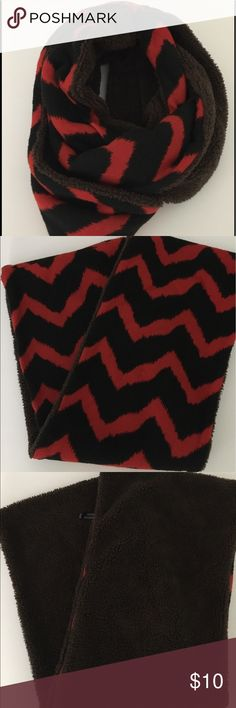 Infinity Scarf Fun black and red zigzag design with brown soft interior. Not sure of the brand. Accessories Scarves & Wraps