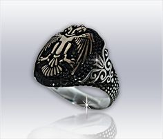Çift Başlı Kartal Gümüş Erkek Yüzük                                (Erk-042)