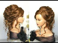 Bridal, wedding hairstyle for long hair. Вечерняя прическа, праздничная прическа. - YouTube