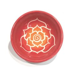 Many new orange, red, and yellow bowls listed today at focazio.com Red-Orange Porcelain Lotus Bowl by PaulaFocazioArt on Etsy