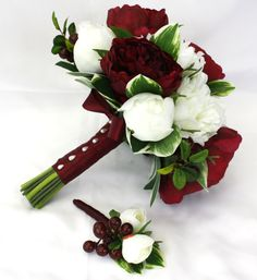 Peony Bridal Bouquet - Burgundy and White, Keepsake Peony Wedding Bouquet for Bride with Groom's Buttonhole