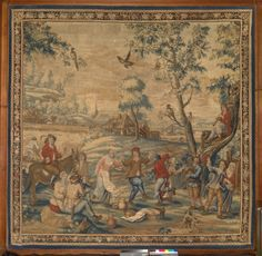 One of hree panels from a series of tapestries, depicting a harvest scene; a village wedding; and a harbour scene. Woven in the workshop of John Vanderbank after designs by David Teniers the Younger. Probably made by the Soho Tapestry Works. Rococo Style, Soho, 18th Century, Vintage World Maps, Workshop, Scene, Tapestry, Charts, Harvest