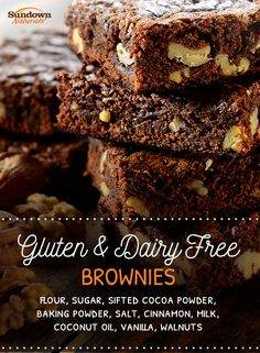 Treat yourself (and your family!) and make these Delicious Gluten & Dairy Free Fudge Brownies! #GlutenFree #DairyFree #Chocolate #Brownies #Recipes #GlutenFreeRecipes