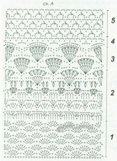 Scheme description of knitting Different Crochet Stitches, Crochet Stitches Chart, Granny Square Crochet Pattern, Crochet Diagram, Crochet Art, Crochet Motif, Free Crochet, Crochet Patterns, Crochet Skirts