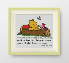 BUY 2, GET 1 FREE! Winnie the Pooh cross stitch pattern, Quote cross stitch pattern, I'll stay there forever (in color), P202 by NataliNeedlework on Etsy