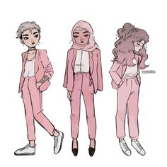 """Edit: """"On Wednesdays, we wear pink."""" Don't you just love girls in suits? Pretty Art, Cute Art, Character Drawing, Girls In Love, Cute Drawings, Cyberpunk, Art Inspo, Art Sketches, Art Reference"""