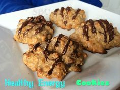 Healthy Energy Cookies Ingredients ½ c. applesauce (unsweetened) ¼ c. raw honey ½ c. natural peanut butter ¼ c. water 1 Tbsp. pure vanilla extract 1 egg ½ tsp. baking soda ¼ tsp. salt 1 tsp. cinnamon ½ c. whole wheat flour 4 scoops vanilla protein powder ½ c. old fashioned oats ½ c. chic chips OR dried fruit such as blueberries, cranberries, or raisins 3 c. of your favorite high fiber cereal ¼ c. ground flax seed 4 oz. dark chocolate, melted (optional) Instructions Preheat your oven to 375…