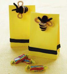 What will it BEE? Bumblebee favor bags {via Amy Atlas' book, Sweet Designs} Goodie Bags, Favor Bags, Gift Bags, Treat Bags, Bee Movie, Pipe Cleaner Crafts, Pipe Cleaners, Bee Gifts, Bee Theme