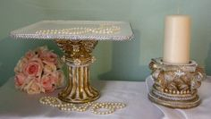 Cake Pedestal & Candle Holder Shabby Chic by SeedsofFaithShop
